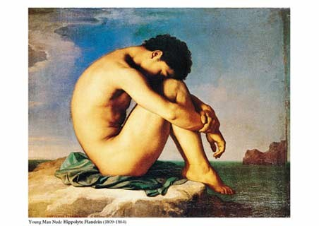 Young  Man Nude, Sits by the Sea - Jean-Hippolyte Flandrin