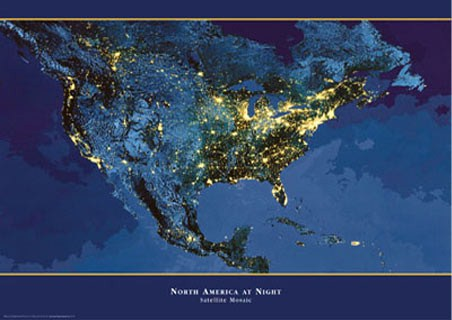 Satellite Urbanization Image of North America - North America At Night
