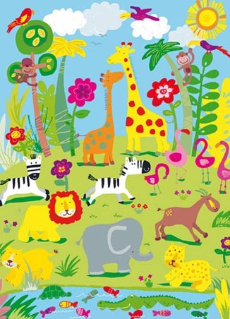 Safari Animals by Jane Hirst - Colourful 4 Sheet Wall Mural