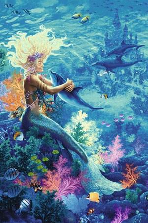Ocean Hug Mermaid And Dolphins Poster Popartuk