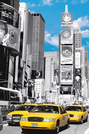 yellow cabs in times square new york city poster popartuk. Black Bedroom Furniture Sets. Home Design Ideas