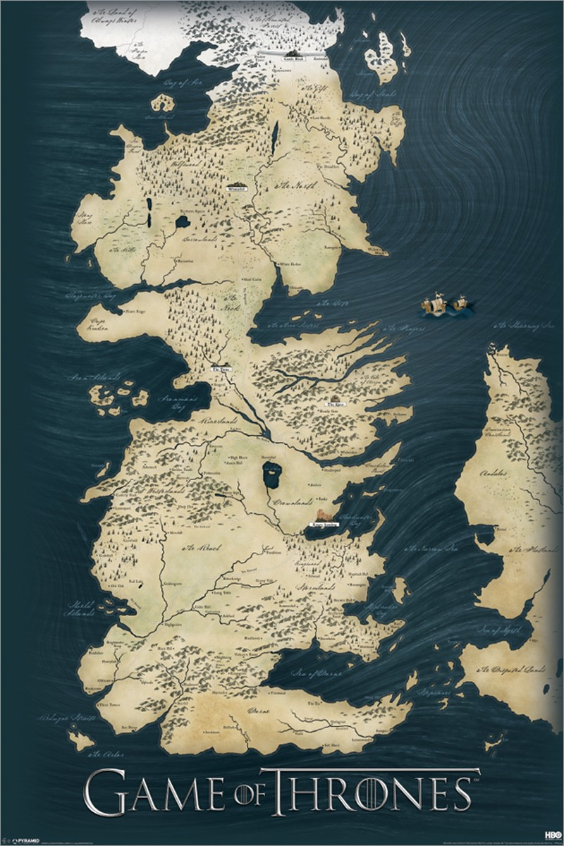 The Seven Kingdoms Of Westeros Map Game Of Thrones Poster Buy Online